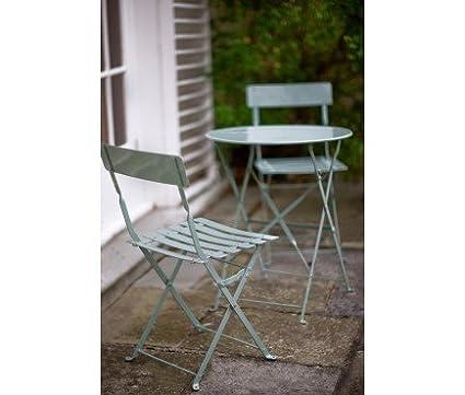 Set di mobili da giardino in metallo, colore: blu