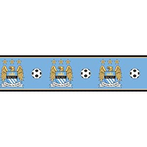 Manchester City F.C. Wallpaper Border- wallpaper border- width 13.5cm- length 5m- official licensed product by Wallpaper / Lighting