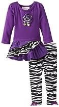 Bonnie Baby Baby-Girls Infant Zebra Corduroy Legging Set, Purple, 24 Months