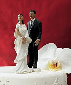 Weddingstar Indian Bride in White Sari Mix & Match Cake Topper