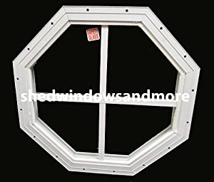 """Shed Octagon Window White 14"""" Flush Mount W/Safety Glass"""