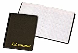 Adams Account Book, 7 x 9.25 Inches, Black, 12-Columns, 80 Pages (ARB8012M)