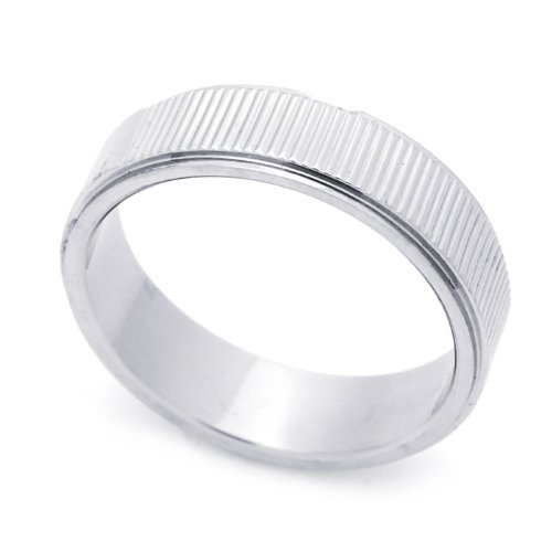 6MM Stainless Steel Striped Wedding Band Ring (Size 7 to 14) Size 11
