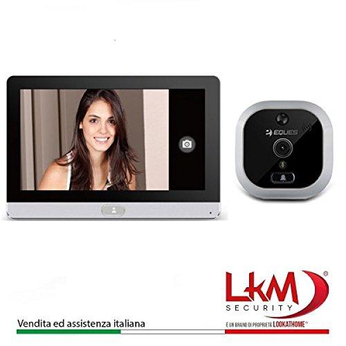 """Eques EQ-R22 Spioncino Digitale Porta Wireless, Camera 2 MP con Schermo Display Touch Screen da 7"""", Argento"""