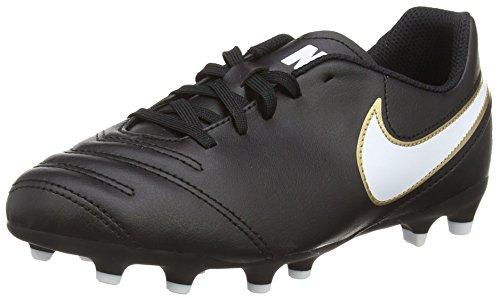Nike Jr Tiempo Rio Iii Fg, Scarpe da Calcio Unisex - Bambini, Nero (Black/White-Metallic Goldblack/White-Metallic Gold), 36 EU