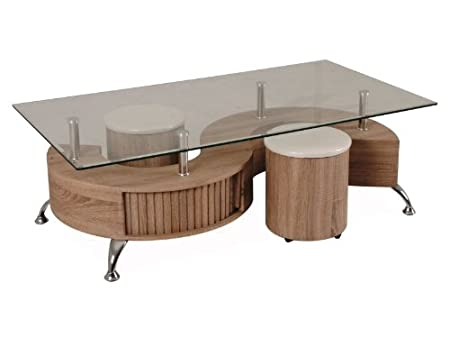 Design Couchtisch Hollywood inkl. 2 Hocker Sonoma Eiche