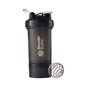 BlenderBottle ProStak System with Bottle and Twist N' Lock Storage, Black