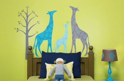 Oopsy Daisy 54 by 30-Inch Peel and Place Modern Giraffe Blue Medium by Stacy Amoo Mensah, Medium