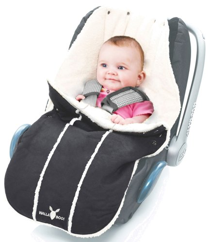 Wallaboo Footmuff  Original,  Luxurious Suede and Soft Faux Shearling, for Newborn up to 12 Months,  Baby Black