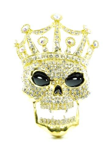 Jumbo Rhinestone Hip Hop Skull Belt Buckles Iced Out Bling (Gold Vampire Crown Skull)