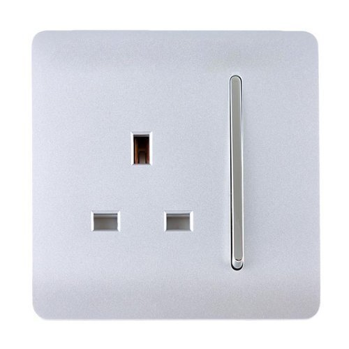 Trendi Switch 1 Gang Artistic Modern Glossy 13 Amp Electrical Switched Plug Socket Silver