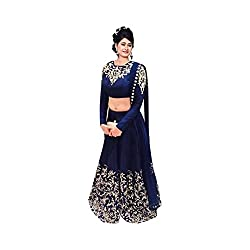 Khazanakart Exclusive Designer Blue Color Georgette Fabric Un-stitched Lehenga Choli With Chiffon Dupatta Material.