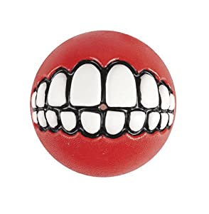 Rogz Grinz Dog Toy Ball to Hide Treats, Large, Red