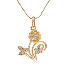 buy Snowman Lee Pave Diamond 18K Rose Gold Plated Blooming Sunflower Pendant Necklace Women