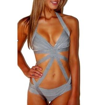 Meilun Women's One Pcs Grey Stretch Bandage Bodycon Swimsuit Bikini X-Small