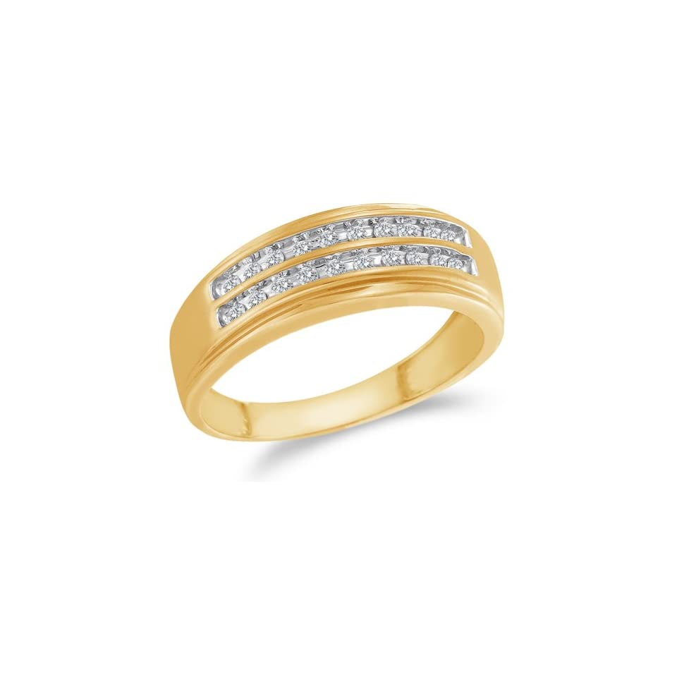 Size 7   10K Yellow and White Two Tone Gold Diamond Two Rows MENS Wedding Band Ring   w/ Channel Set Round Diamonds   (1/4 cttw)