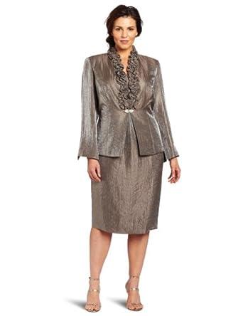 Jessica Howard Women's Plus Size 2 Piece Long Sleeve Ruffle Trim Jacket Dress, Gray, 14w