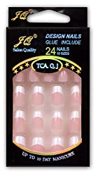 GURAIO 24pcs Set Acrylic False Nail Tips French Full Nails Art Free Glue made by GURAIO