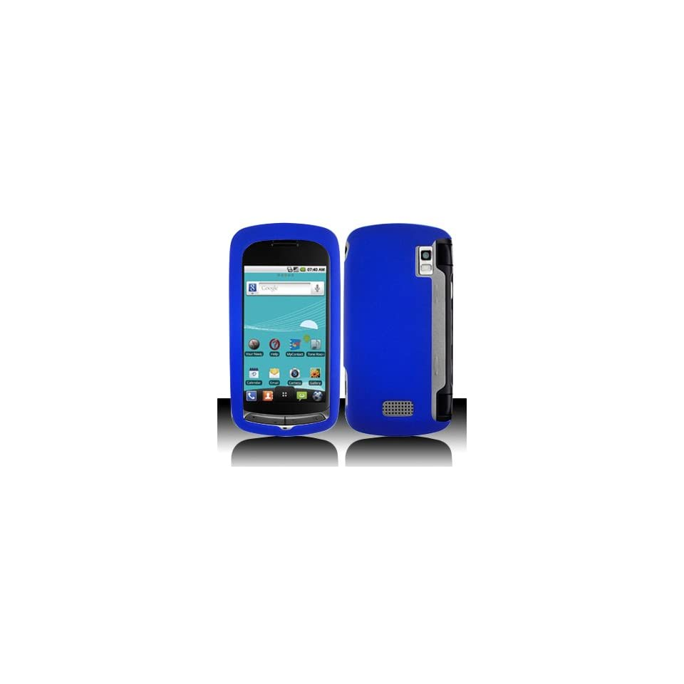 Blue Rubberized Hard Plastic Case for LG US760 Genesis