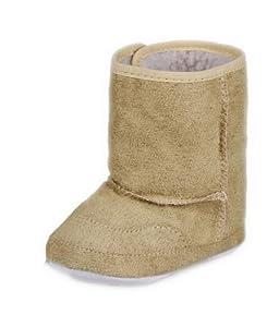 EOZY Invierno Caliente Largo Bota Zapatos De Bebé Infantil Para Nieve Con Velcro Cuero Beige 12cm en BebeHogar.com