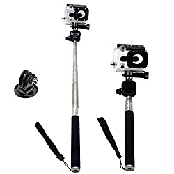 SunSmart Black Extendable Telescopic Self-portrait Photo Selfie Handheld Stick Monopod With Universal Adaptor for Gopro Hero 1/2/3/3+ HD and Gopro screw