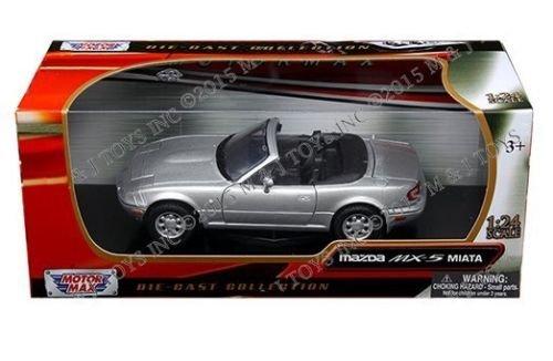 New 1:24 W/B MOTOR MAX COLLECTION - SILVER MAZDA MX-5 MIATA Diecast Model Car By MOTOR MAX (Mazda Miata Model Car compare prices)