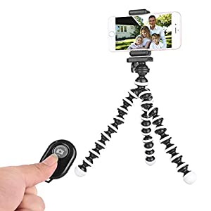 Tripod for IPhone - Phone Tripod - Camera Tripod Compatible with Any Smartphone Cell Phone Support Remote Control Flexible Tripod Stand(Black White)