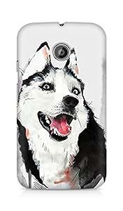 Amez designer printed 3d premium high quality back case cover for Motorola Moto E (Husky Dog Watercolor Illustration)