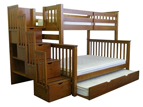 Bedz King Bunk Beds with Twin Trundle, Twin over Full with Stairway, Expresso (Full Expresso Bed compare prices)