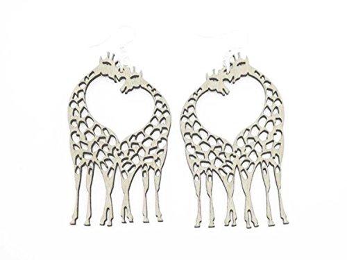Natural Wood Giraffe Heart Wooden Earrings