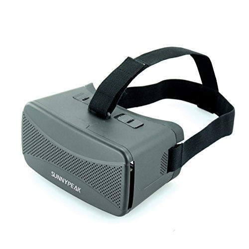 SUNNYPEAK Plastic 3D VR Virtual Reality Glasses Google Cardboard 3D Video Movie Game Glasses for iPhone Samsung HTC Moto LG Nexus Smart phones with QR Code Good Quality Head Mount Headband, Black