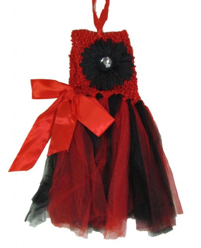 Hairbows Unlimited Girls' Crochet Halter Top Tutu Dress One Size Red/Black front-751674