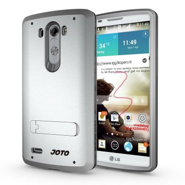 [ Kickstand Case ] - JOTO LG G4 / LG G3 Hybrid Tri Layer Armor Cover Case with Kickstand for LG G4 G3, [Flexible TPU + double Hard PC], LG G4 G3 Stand Case (Choose the correct size option) from JOTO