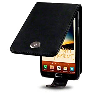 SAMSUNG GALAXY NOTE PREMIUM PU LEATHER FLIP CASE / COVER / POUCH / HOLSTER - BLACK PART OF THE QUBITS ACCESSORIES RANGE