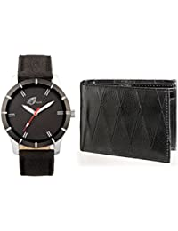 Arum Casual Analog Black Dial Watch &Black Wallet For Men