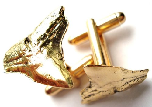 Gold Toned Shark Teeth Cufflinks