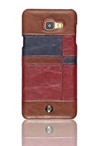 Parallel Universe Stitched Puzzle PU Leather Back cover for Samsung Galaxy A7(2016) - Maroon