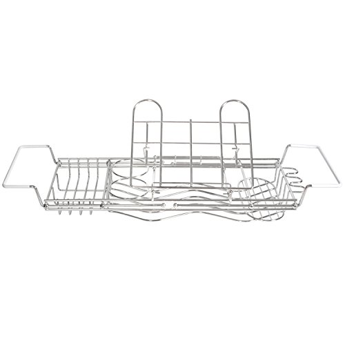 Stainless Steel Bathtub Caddy with Extending Sides and Book Holder. Guaranteed Not to Rust. (Tub Rack Caddy compare prices)