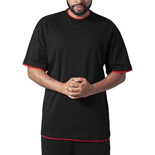 Urban Classics Bekleidung Contrast Tall Tee-T-shirt Uomo    Schwarz (Schwarz/Rot) 3X-Large