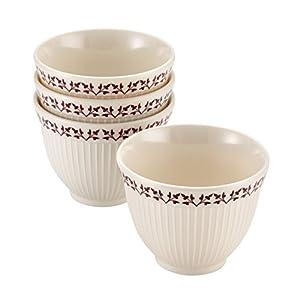 Paula Deen 3-Piece Signature Pantryware Melamine Prep Bowl Set, Cream/Burgundy