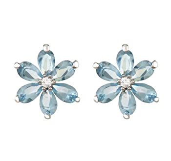 JanKuo Jewelry Silver Tone Aquamarine CZ Flowers with Six Oval Petals March Birthstone Stud Earrings with Gift Box