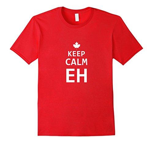 [Men's Keep Calm Eh Canada Maple Leaf Mounties Uniform Tee Shirt Large Red] (Mountie Uniform)