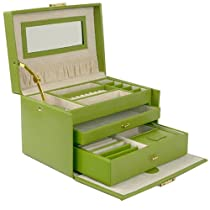 Hot Sale Jewelry Box Genuine Leather Lime Green Large With Travel Case by Tech Swiss