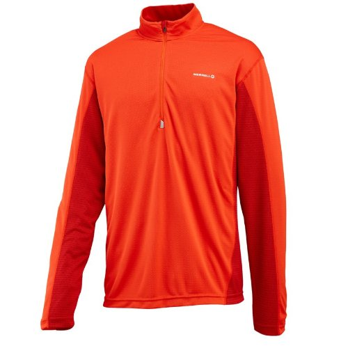 Men's Merrell TRIMARAN Half Zip T-Shirt RED SML REG
