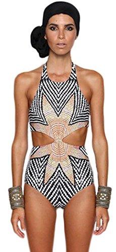 FQHOME Womens Flower Chevron Print Cut out One-piece Swimwear Size S