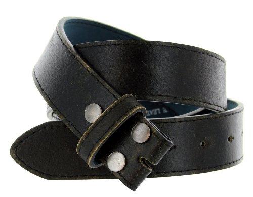 "Womens Vintage Look Distressed Leather Strap Belt Snap On (S(30""-32""), Black)"