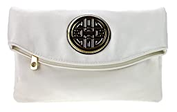 Canal Collection Multi Purpose Soft Foldable PVC Cross Body Clutch with Emblem (White)