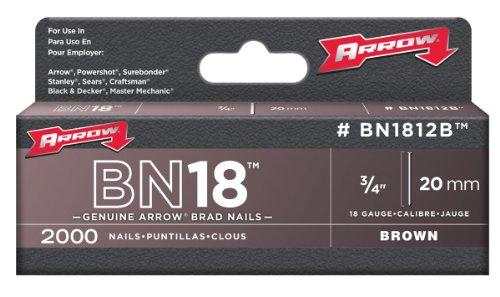 Arrow Bn1812B Genuine 3/4-Inch, 18 Gauge Brown Brads, 2,000-Pack
