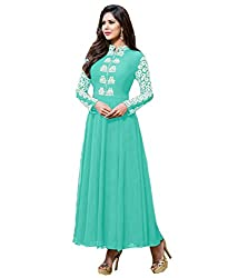 Fashion Fire Women's Sky Blue Embroidered Georgette Unstitched Dress Material