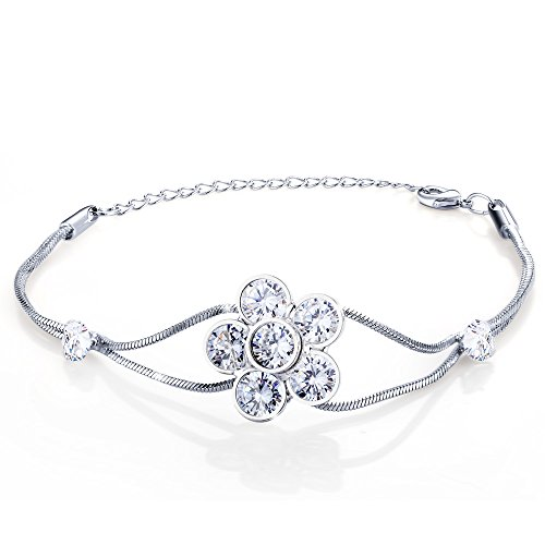 [Menton Ezil Stainless Steel Lucky Flower Crystal White Cubic Zirconia Sliver Plated Double Link Resizable Bracelet For Women] (Ideas For Halloween Costumes For Teenage Girl)